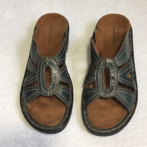 Clarks Womens Leather Sandals Blue Size 6